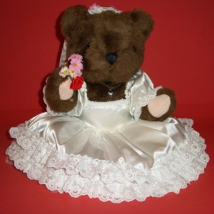 """13 """" Teddy Bear Plush Toy Like Wedding McField Fashion Doll with Base Bouquet Roses Brown Pink White"""