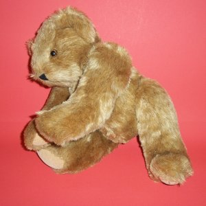 "Authentic Teddy Bear Vermont® 15""Dark Green Thus Tag Born In Vermont Spelled Out around Eyes Plush"