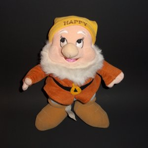 "10"" The Disney Store Dwarfs Happy Collectible Stuffed  Plush Toy"