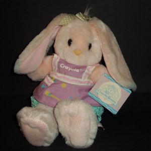 "Vintage Crayola Bunny Easter 1990 Hallmark Pink Doll Soft 12"" By HEARTLINE Hard To Find"