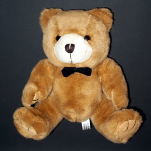"Steven Smith Teddy Bear Black Bow Tie Plush Stuffed Toy 8"" Tan"