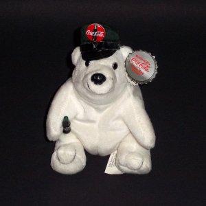 """5"""" Collectible CocaCola®Polar Bear Bag Plush Toy 1997 Driver's Cap Style #0146"""
