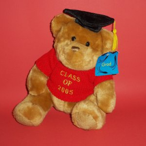 "Teddy Bear Grad 2005 US BALLOON Plush Toy 10"" seated position"