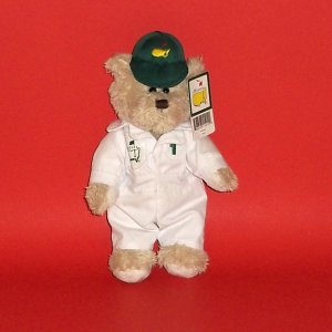"Teddy Bear Toy Caddie Bear Masters #1 Plush Stuffed 9"" Golf Outfit White Green Collectible"