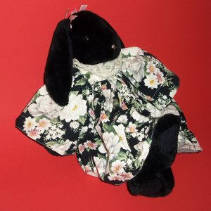 """15"""" Black Bunny Doll with Dress Exclusive To Harrods KNIGHTSBRIDGE LONDON"""