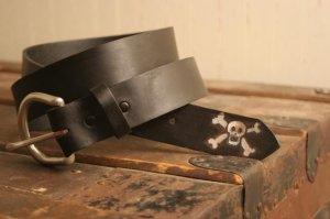 Skull and Crossbones Leather Belt - Last Hurrah