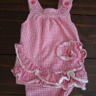 Red and White Gingham Onesie Summer Outfit