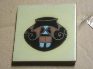 Cleo Teissedre hand painted ceramic tile..Kiln fire