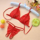 Sexy Bra plus Hot Lace G-string Underwear for Ladies- RED - One Size #VNC1K114
