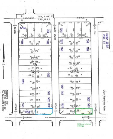 Lot with Water Meter Kellogg at Sunset, 29 Palms SOLD