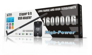 160000G 1200mW High Power Clipper b/g USB Wireless/Wifi Adapter Come with 9dBi Omni Antenna