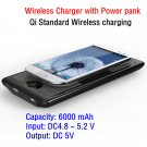 Wireless charger with 6000mAh battery power bank Support QI standard Wireless charging  phone