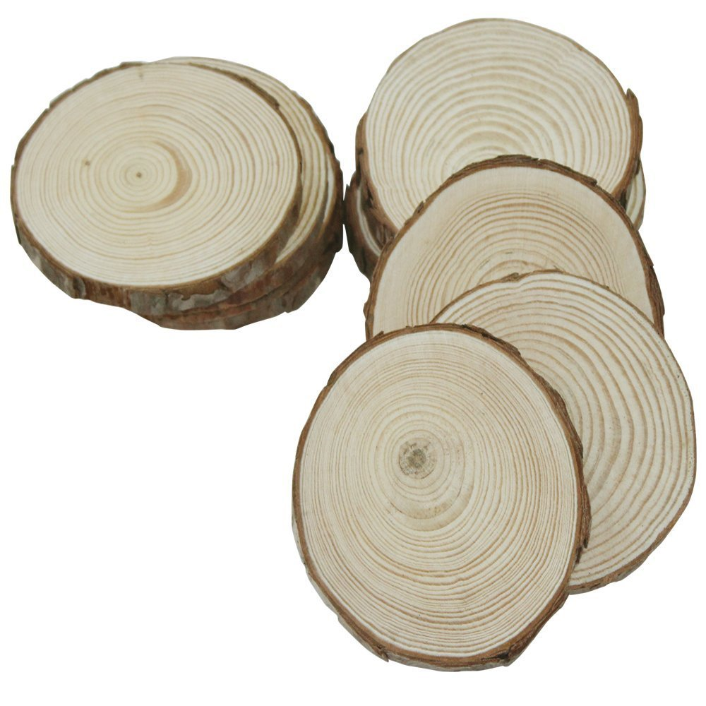 3.5-4inch Unfinished Natural Round Blank Wood Slices for DIY Craft �15pcs�