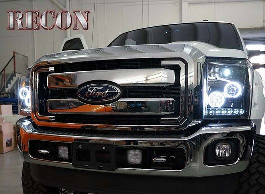 Part # 264272BKCC - SMOKED Projector Headlights Ford Superduty 11-13 CCFL Technology