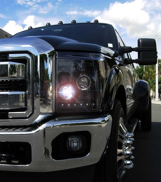 Part # 264272BK - SMOKED Projector Headlights Ford Superduty 11-13 w LED Halos & DRLs