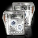 Part # 264272CL - CLEAR Projector Headlights Ford Superduty 11-12 w LED Halos & DRLs