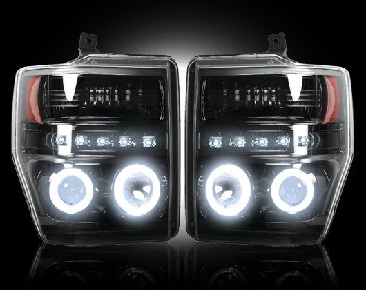 Part # 264196BKCC - SMOKED Projector Headlights Ford Superduty 08-10 CCFL Technology