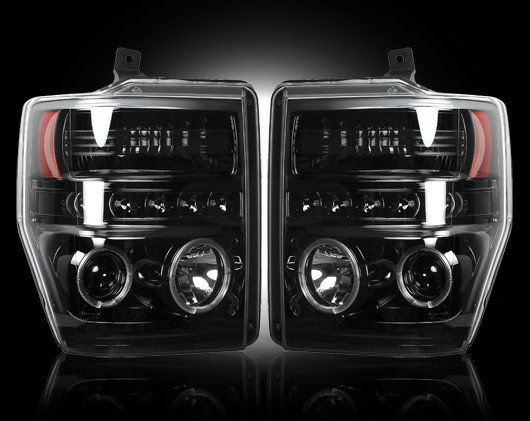 Part # 264196BK - SMOKED Projector Headlights Ford Superduty 08-10 w LED Halos & DRLs