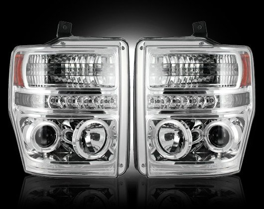 Part # 264196CL - CLEAR Projector Headlights Ford Superduty 08-10 w LED Halos & DRLs