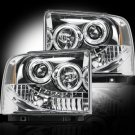 Part # 264193CL - CLEAR Projector Headlights Ford Superduty & Excursion 05-07 w LED Halos & DRLs