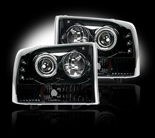Part # 264192BK - SMOKED Projector Headlights Ford Superduty & Excursion 99-04 w LED Halos & DRLs