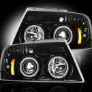 Part # 264198BK - SMOKED Projector Headlights Ford F150 04-08 w LED Halos & DRLs