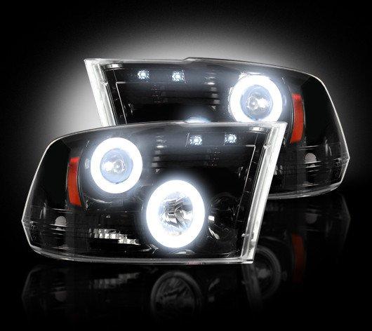 Part # 264270BKCC - SMOKED Projector Headlights Dodge RAM 09-12 1500 & 10-12 2500/3500