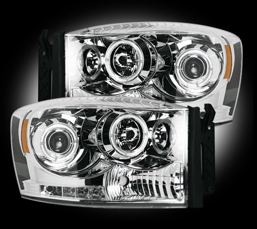 Part # 264199CL - CLEAR Projector Headlights Dodge RAM 06-08 w LED Halos & DRLs
