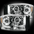 Part # 264199CL - CLEAR Projector Headlights Dodge RAM 06-08 w LED Halos & DRLs