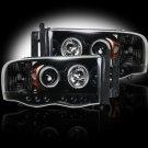 Part # 264191BK - SMOKED Projector Headlights Dodge RAM 02-05 w LED Halos & DRLs