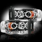 Part # 264191CL - CLEAR Projector Headlights Dodge RAM 02-05 w LED Halos & DRLs