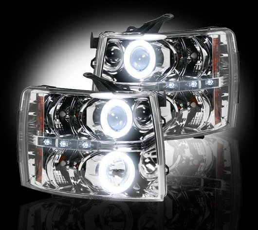 Part # 264195CLCC - CLEAR Projector Headlights Chevy Silverado 07-12 CCFL Technology