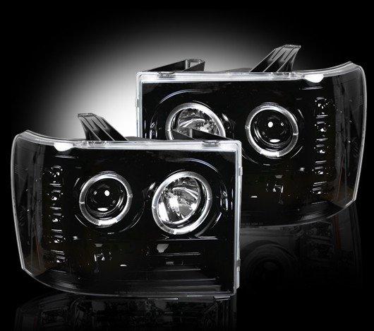 Part # 264271BK - SMOKED Projector Headlights GMC Sierra & Denali 07-12 w LED Halos & DRLs