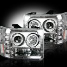 Part # 264271CL - CLEAR Projector Headlights GMC Sierra & Denali 07-12 w LED Halos & DRLs