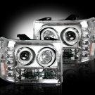 Part # 264271CL - CLEAR Projector Headlights GMC Sierra & Denali 07-12 w LED Halos & DRLs
