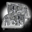 Part # 264197CL - CLEAR Projector Headlights Ford Mustang 05-09 w LED Halos & DRLs