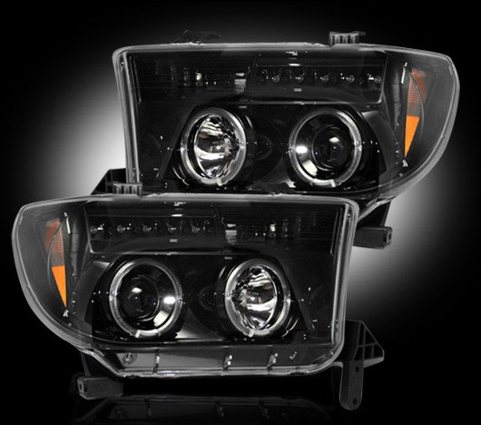 Part # 264194BK - SMOKED Projector Headlights Toyota Tundra & Sequoia 07-12 w LED Halos & DRLs