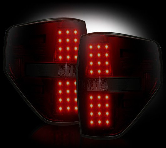Part # 264168RBK RED SMOKED LED Tail Lights Ford Raptor & F150 09-12