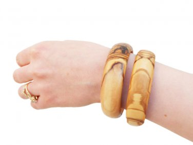 Wooden bracelet set / Olive Wood Bangles Set / Girlfriend Gift / Birthday Gift