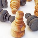 Olive wood hand carved large chess pieces, wooden rustic chess board pieces