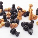 Olive wood hand carved medium chess pieces, wooden rustic chess board pieces