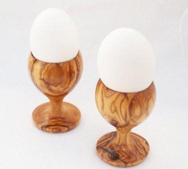 Olive Wood Egg Cup set, Olive Wood egg holder set, 2 egg holders