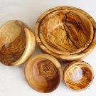 Olive Wood bowl, Set of 5 Olive Wood round bowls, Wedding gift