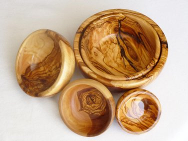 Olive Wood bowl, Set of 5 Olive Wood round bowls, Wedding gift
