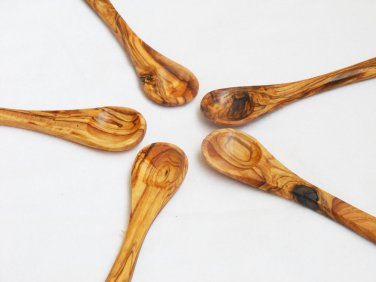 Olive Wood small coffee sugar spoon set, Set of 5 sugar salt coffee spoons 14cm