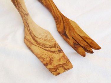 Wooden utensil set : 1 Tart Spatula, 1 Fork
