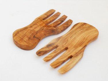 Olive Wood salad mixing serving utensils Set / Olive Wood serving hands