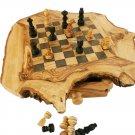 Olive Wood Rustic Chess Set Board, Boyfriend Gift, Dad Gift
