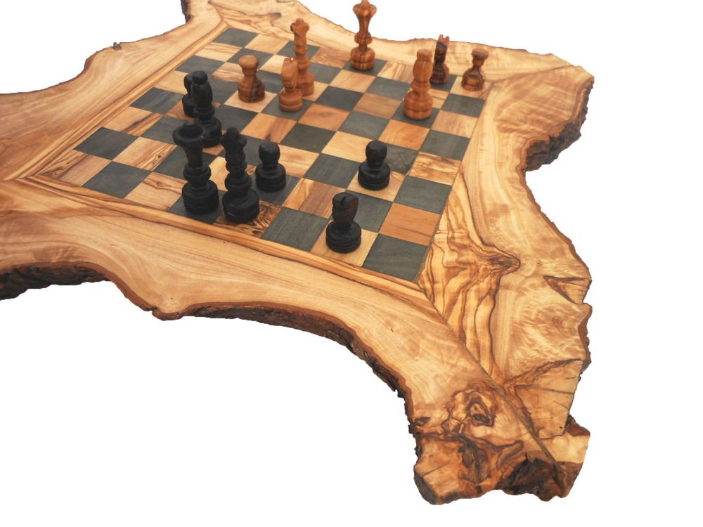 Handmad Olive Wood Rustic Chess Set Board / Wooden Engraved chessboard /Dad Gift