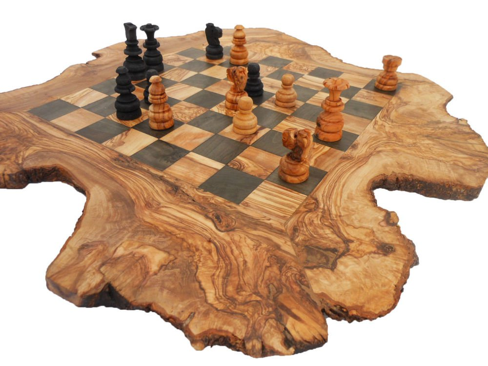 Handmade Rustic Olive Wood Large Chess Set Board Dad